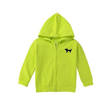 חולצה כותנה אביב שרוול ארוך אחיד הדפס חיות יוניסקס ירוק בהיר כחול בהיר כחול ים
