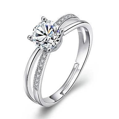 בגדי ריקוד נשים זירקונה מעוקבת טבעת הצהרה - סגסוגת פשוט מתכוונן כסף עבור חתונה / ארוסים