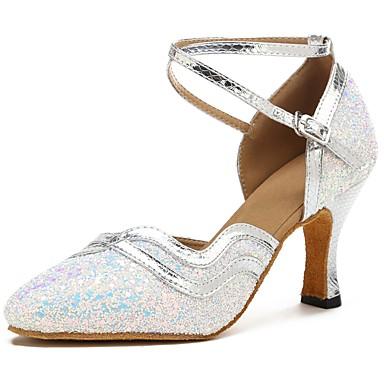 נעליים מודרניות Paillette / דמוי עור סנדלים / עקבים קשתות עקב מותאם מותאם אישית נעלי ריקוד כסף