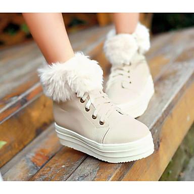 בגדי ריקוד נשים נעליים PU סתיו / חורף נוחות / מגפיים מגפיים עקב טריז לבן / בז' / ורוד
