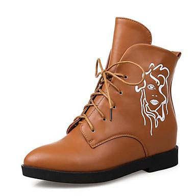 בגדי ריקוד נשים נעליים PU סתיו / חורף נוחות / מגפיי קרב מגפיים עקב עבה מגפונים\מגף קרסול שחור / אדום / קאמל