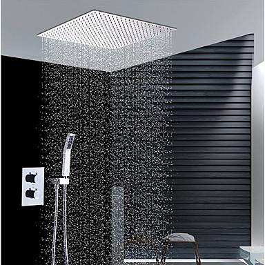 עכשווי התקנת קיר מקלחת גשם שפורפרת יד כלולה תרמוסטטי שסתום קרמי שתי ידיות שלושה חורים כרום, ברז למקלחת