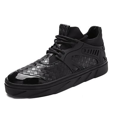 נעליים PU אביב סתיו נוחות נעלי ספורט ל קזו'אל בָּחוּץ לבן שחור