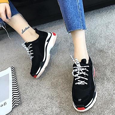 בגדי ריקוד נשים נעליים עור נאפה Leather סתיו / חורף נוחות נעלי ספורט שטוח בוהן סגורה שחור