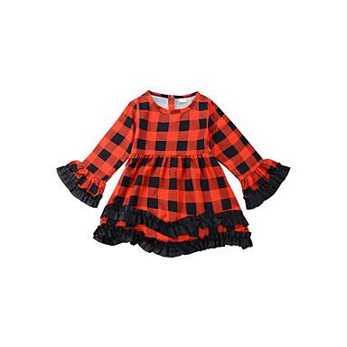 שמלה פוליאסטר אביב כל העונות שרוול ארוך יומי ליציאה גיאומטרי דפוס הילדה של וינטאג' חמוד אודם