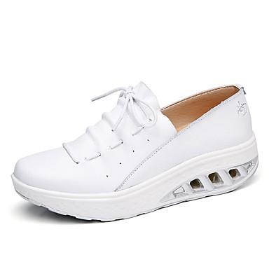בגדי ריקוד נשים נעליים עור אביב נוחות / חדשני נעליים ללא שרוכים עקב טריז בוהן עגולה פתחים שחור / כסף / בז' / חתונה