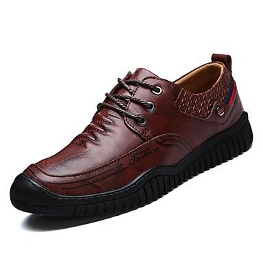 נעליים עור אביב סתיו נוחות נעלי אוקספורד ל קזו'אל שחור חום בהיר חום כהה