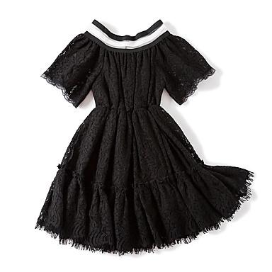 שמלה ללא שרוולים תחרה פסים / קולור בלוק וינטאג' / יום יומי בנות פעוטות / כותנה / חמוד