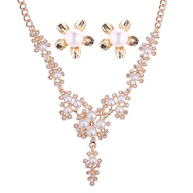 בגדי ריקוד נשים סט תכשיטים - דמוי פנינה פרחוניים / בוטניים, פרח ארופאי, אלגנטית לִכלוֹל זהב עבור חתונה / Party / עגילים