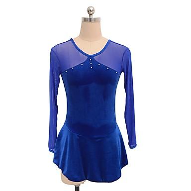 שמלה להחלקה אמנותית בגדי ריקוד נשים / בנות החלקה על הקרח שמלות כחול ים ספנדקס ביגוד להחלקה על הקרח נצנצית שרוול ארוך החלקה אמנותית