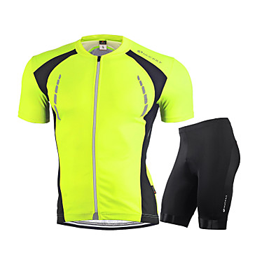 Nuckily Men's Short Sleeve Cycling Jersey with Shorts - Red / Green / Blue Bike Clothing Suit, Breathable, Reflective Strips Spandex Solid Color / Stretchy / Advanced