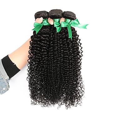 baratos Extensões de Cabelo Natural-3 pacotes Cabelo Brasileiro Kinky Curly 10A Cabelo Virgem Cabelo Humano Ondulado Tramas de cabelo humano Extensões de cabelo humano Mulheres / Crespo Cacheado