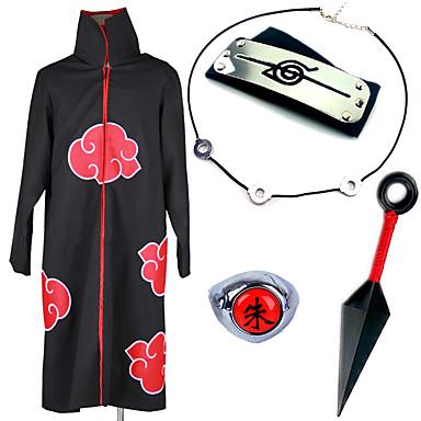 Innoittamana Naruto Akatsuki / Itachi Uchiha Anime Cosplay-asut Cosplay Puvut / Enemmän lisävarusteita Anime Viitta / Kaulakorut / Headband Käyttötarkoitus Miesten / Naisten