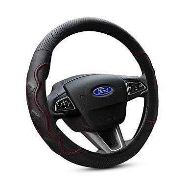 cheap Steering Wheel Covers-Steering Wheel Covers Genuine Leather 38cm Black / Red For Ford Focus / Escort / Fiesta All years