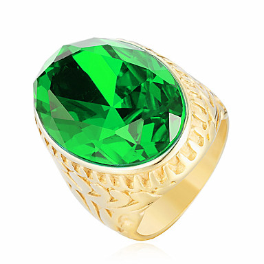 voordelige Herensieraden-Heren Statement Ring Kubieke Zirkonia Rood Groen Blauw Roestvast staal Zirkonia Modieus Bruiloft Feest Sieraden
