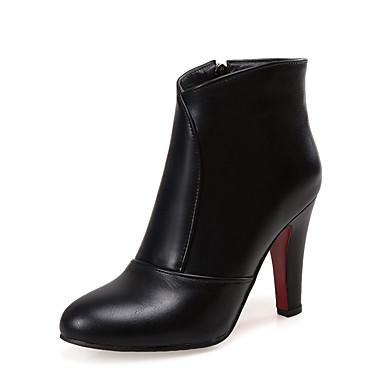Bout Similicuir Bottes la Mode Femme Noir Hiver à Demi Chaussures Botte Bottier Rouge Talon Bottes Blanc 06474167 Bottine pointu 5Atxtqwv