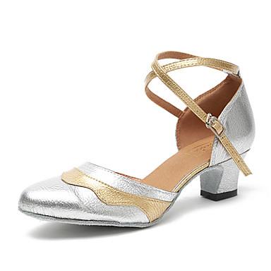 בגדי ריקוד נשים סניקרס לריקוד / נעליים מודרניות / נעלי סמבה דמוי עור נעלי ספורט עקב עבה מותאם אישית נעלי ריקוד כסף
