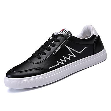 בגדי ריקוד גברים נעלי נוחות PU אביב / סתיו נעלי אתלטיקה / נעלי ספורט לבן / שחור / בָּחוּץ