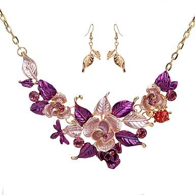 בגדי ריקוד נשים סט תכשיטים - יהלום מדומה פרח קלסי, אופנתי לִכלוֹל עגילי טיפה שרשרת סגול / כחול עבור ארוסים טקס / עגילים