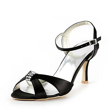 Soirée 06474010 de ouvert Talon Soie Chaussures Femme Bout Printemps Basique Bas Eté Mariage Strass Evénement Escarpin mariage Noir Chaussures amp; 7a0RHxqRw