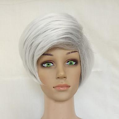 פאות סינתטיות ישר תספורת שכבות שיער סינטטי אפור פאה קצר ללא מכסה אפור