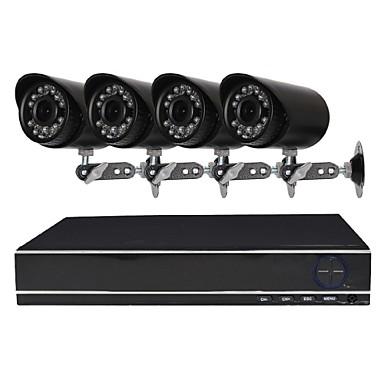 4-kanałowy system kamer bezpieczeństwa 1080n ahd dvr z 4 odpornymi na warunki atmosferyczne kamerami 1.0mp z noktowizorem