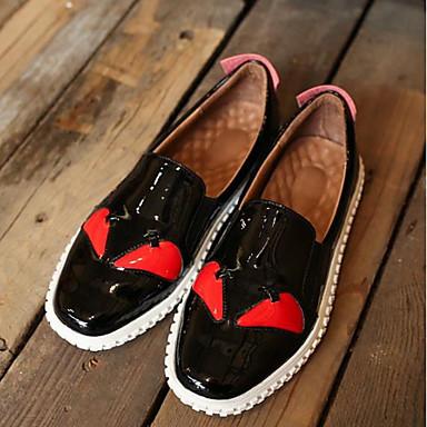 בגדי ריקוד נשים נעליים עור פטנט אביב / סתיו נוחות נעליים ללא שרוכים שטוח בוהן עגולה צהוב / אדום