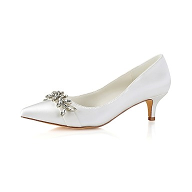 bc41657e25f Women s Shoes Stretch Satin Spring   Fall Basic Pump Wedding Shoes Low Heel  Pointed Toe Crystal Ivory   Party   Evening