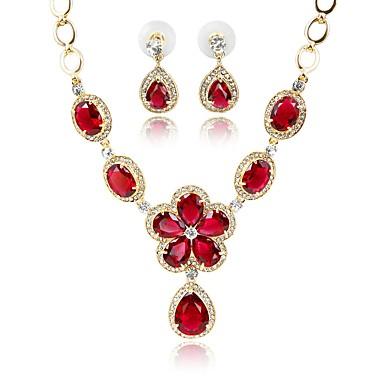 בגדי ריקוד נשים סט תכשיטים - ציפוי זהב בוהמי, אופנתי לִכלוֹל סטי תכשיטי כלה אדום כהה עבור חתונה משרד קריירה