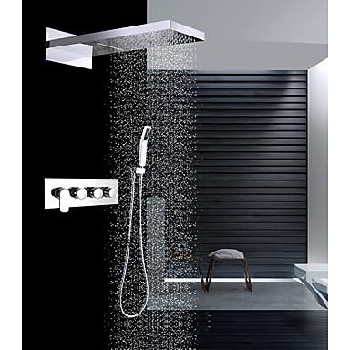 עכשווי מותקן על הקיר מפל מים מקלחת גשם שפורפרת יד כלולה שסתום קרמי ארבעה מטפל בשלושה חורים כרום, ברז למקלחת
