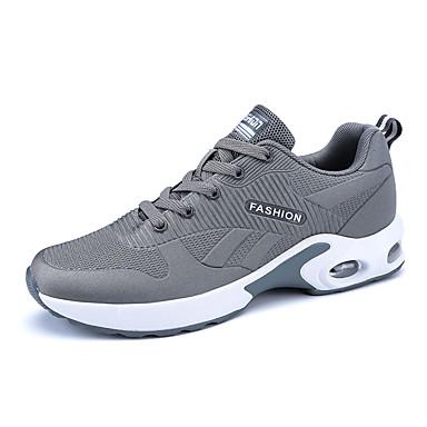 בגדי ריקוד גברים טול / PU כל העונות נוחות נעלי אתלטיקה ריצה שחור / אפור