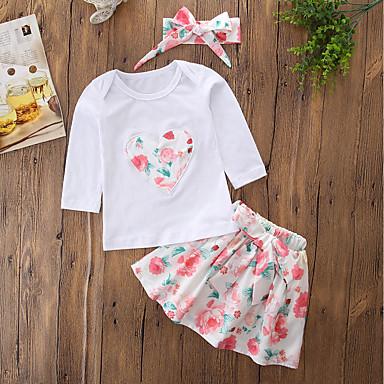 7d2441a45e8e9 Toddler Genç Kız Günlük / Actif Günlük / Dışarı Çıkma Çiçekli / Nakışlı  Uzun Kollu Normal Normal Pamuklu / Akrilik Kıyafet Seti Beyaz / Sevimli