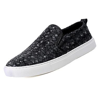 בגדי ריקוד גברים עור אביב / סתיו נוחות נעליים ללא שרוכים שחור / קפה