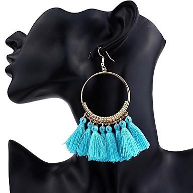 בגדי ריקוד נשים פרנזים עגילי טיפה - צִיצִית, בוהמי, בוהו קשת / כחול בהיר / נייבי כהה עבור Party / פֶסטִיבָל / גדול