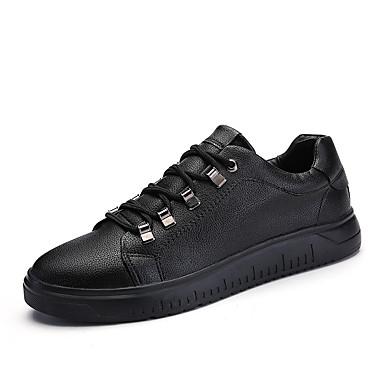 בגדי ריקוד גברים דמוי עור אביב / קיץ נוחות נעלי ספורט לבן / שחור