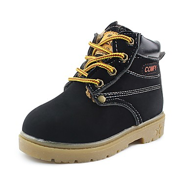 בנים נעליים דמוי עור חורף נוחות מגפיים שרוכים ל שחור / צהוב / חום