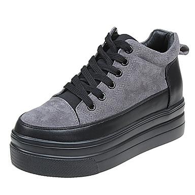 בגדי ריקוד נשים נעליים PU אביב / קיץ נוחות נעלי ספורט שטוח בוהן עגולה שחור / אפור