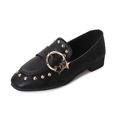 Damen Schuhe PU Sommer Komfort Loafers & Slip-Ons Walking Flacher Absatz Runde Zehe Schleife Schwarz / Braun