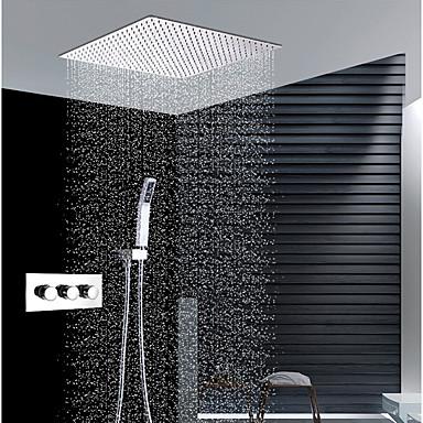 עכשווי התקנת קיר מקלחת גשם שפורפרת יד כלולה תרמוסטטי שסתום קרמי שלוש ידיות שלושה חורים כרום, ברז למקלחת