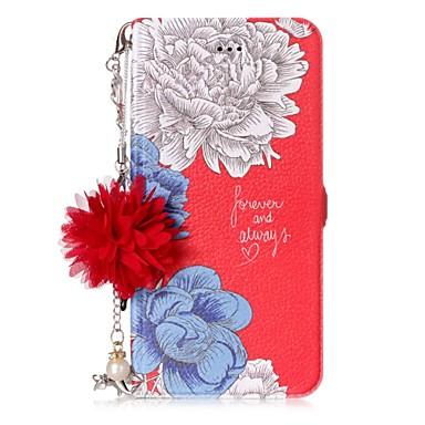 מגן עבור Huawei P10 Lite / P8 Lite (2017) מחזיק כרטיסים / עם מעמד / נפתח-נסגר פרח קשיח ל