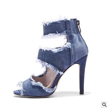 online retailer e20aa 7968d Chaussures Sandales ouvert Bleu Confort Talon 06531726 Toile jean qwCO08xg