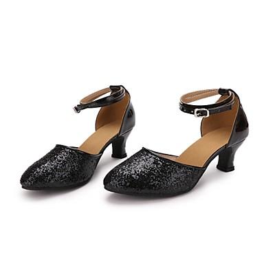 בגדי ריקוד נשים נעליים מודרניות Paillette / דמוי עור עקבים Paillette עקב מותאם מותאם אישית נעלי ריקוד שחור