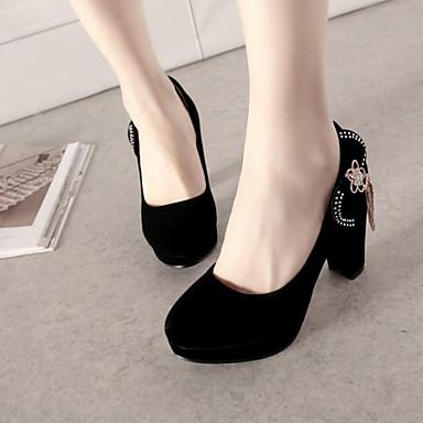 Talons à Rouge Noir Chaussures Cuir Femme Nubuck pointu Noeud Chaussures Automne Rivet Confort Bout Printemps 06506256 haut Nouveauté Talon pHw8wzA