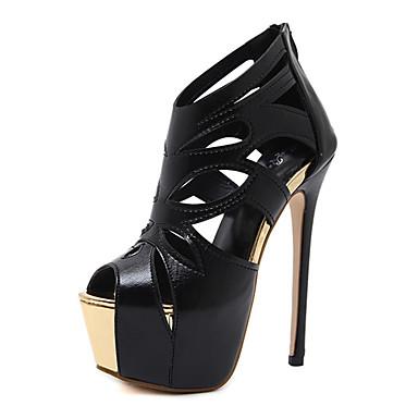 5c7552b4288 Zapatos Tul   Semicuero Primavera   Verano Confort   Innovador   Botas de  Moda Sandalias Tacón Stiletto Negro   Boda