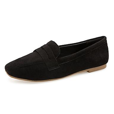 בגדי ריקוד נשים נעליים PU אביב נוחות שטוחות הליכה שטוח בוהן מרובעת פרח סאטן שחור