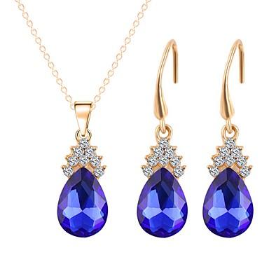 בגדי ריקוד נשים סט תכשיטים - ציפוי זהב פשוט, אופנתי לִכלוֹל שרשראות תליון כחול עבור חתונה מתנה
