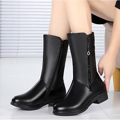 בגדי ריקוד נשים נעליים עור נאפה Leather / PU סתיו / חורף נוחות מגפיים עקב עבה מגפיים באורך אמצע - חצי שוק שחור / חום