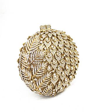 שקיות מתכת תיק ערב פרטים מקריסטל פרחוני זהב