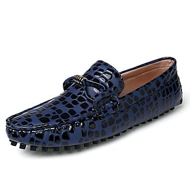בגדי ריקוד גברים עור אביב / קיץ נוחות נעליים ללא שרוכים כחול כהה / אפור / אדום