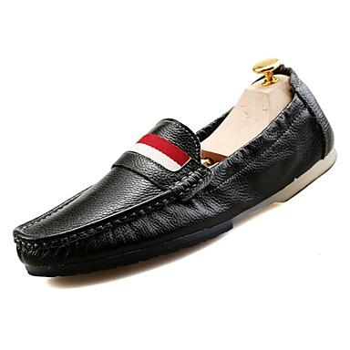 נעליים עור אביב סתיו מוקסין נעליים ללא שרוכים ל קזו'אל לבן שחור כחול